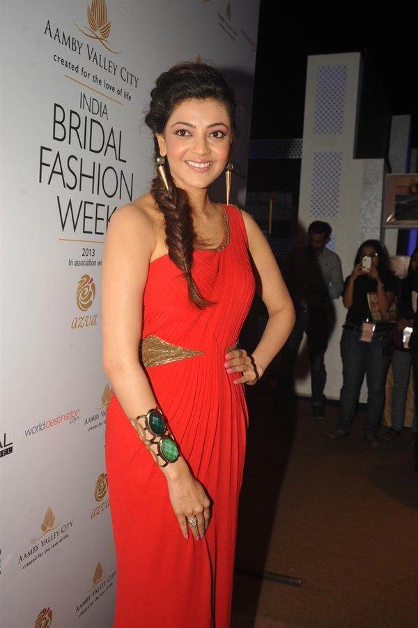 Kajal agarwal red dress wallpaper