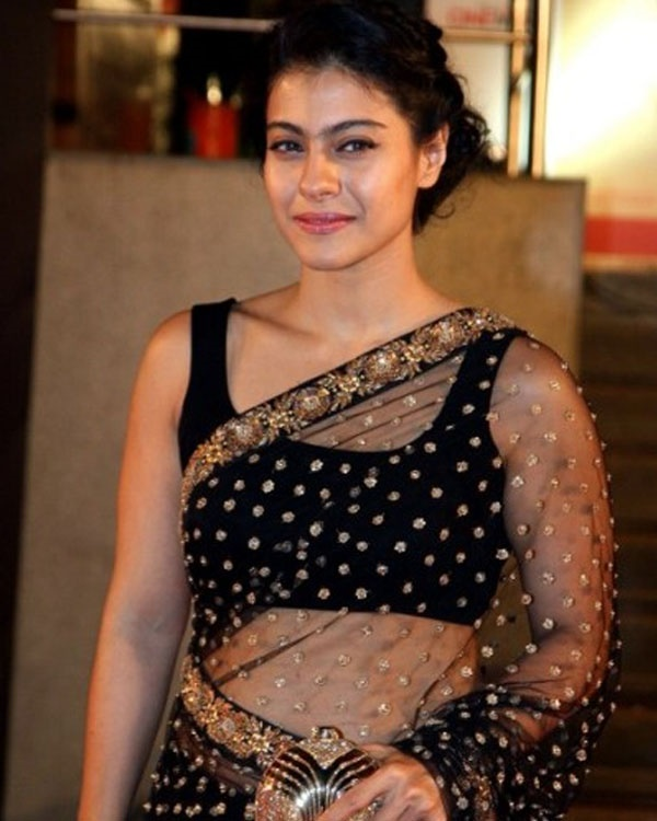 Kajol black color saree photos
