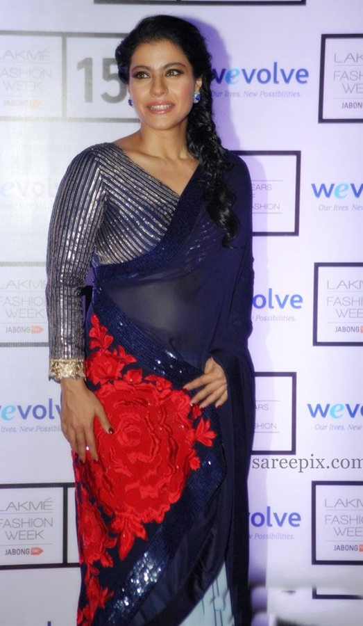 Kajol blue saree photos