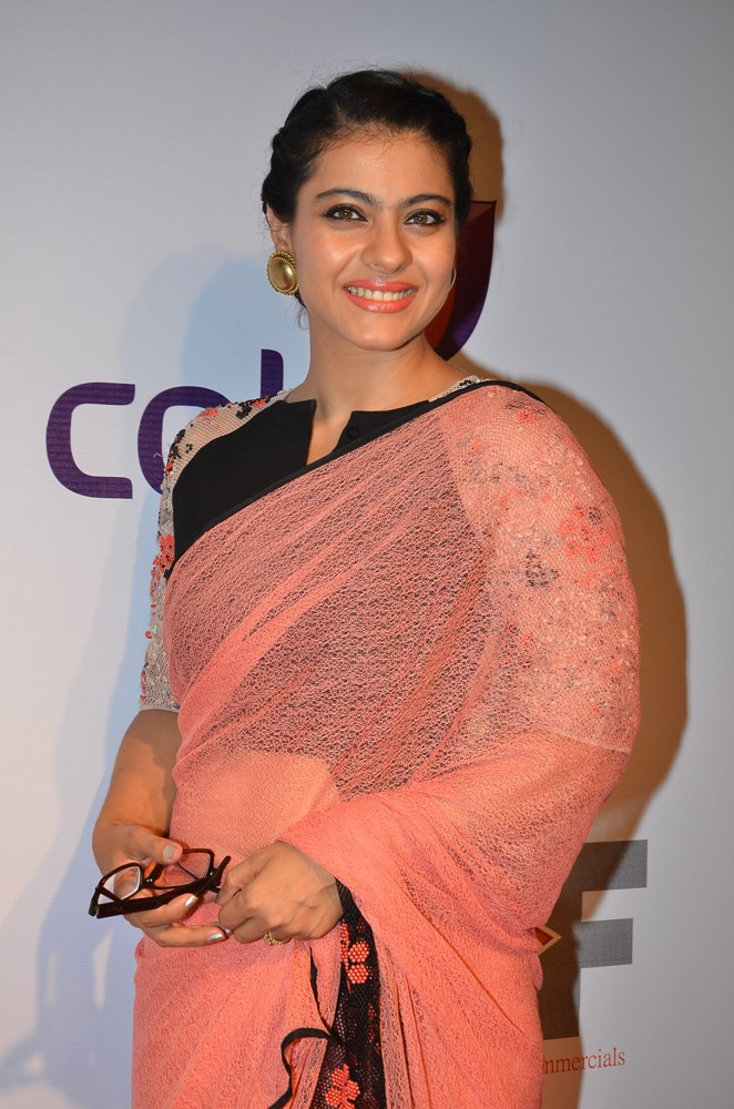 Kajol pink color saree images