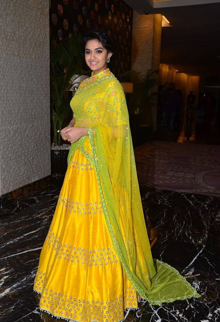Keerthi suresh yellow dress photos