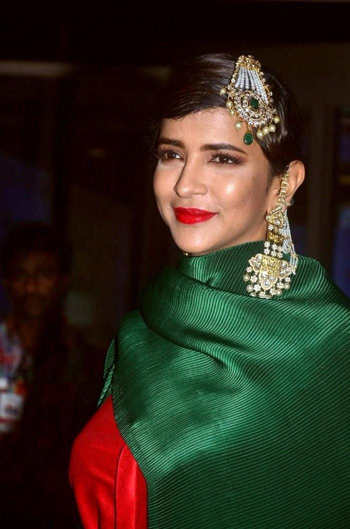 Lakshmi manchu green dress modeling stills