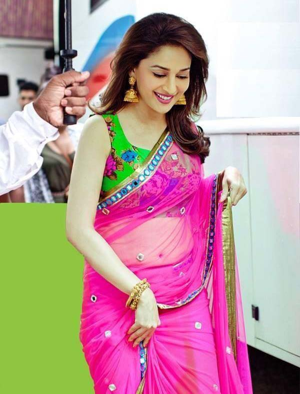 Madhuri dixit outdoor saree photos