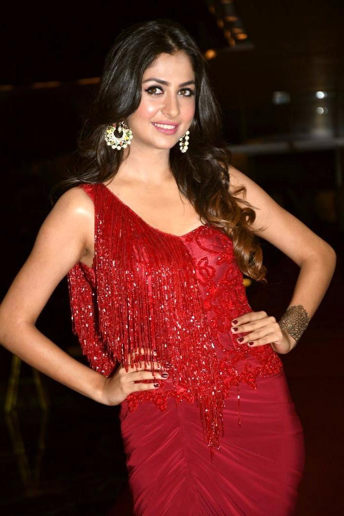 Malvika raaj red dress glamour pictures