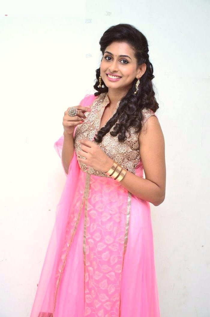 Nithya naresh pink color dress cute stills