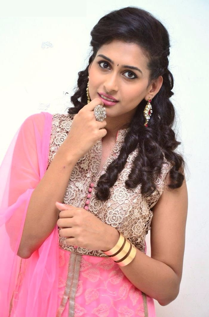 Nithya naresh pink color dress glamour photos