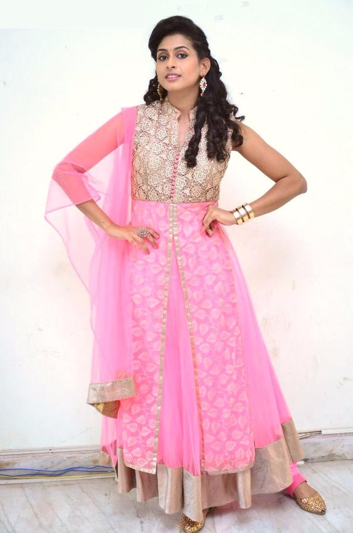 Nithya naresh pink color dress photos