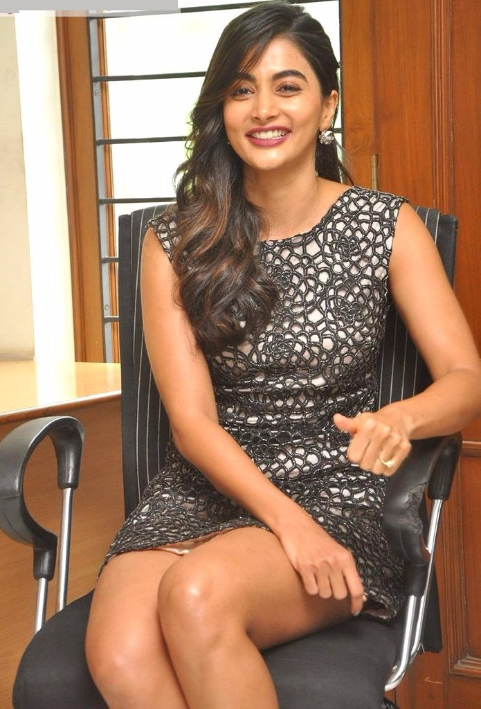 Pooja hegde black dress cute stills