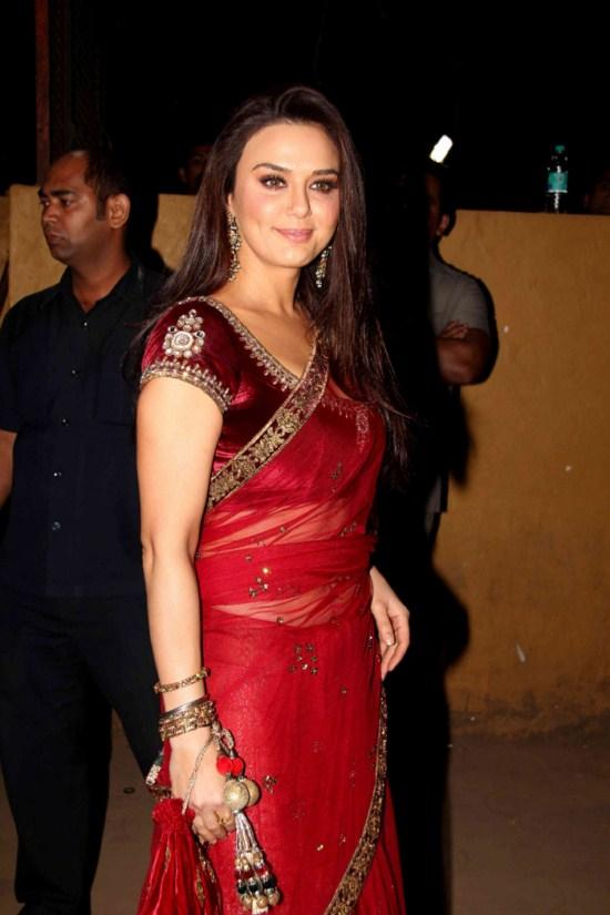 Preity zinta red saree photos