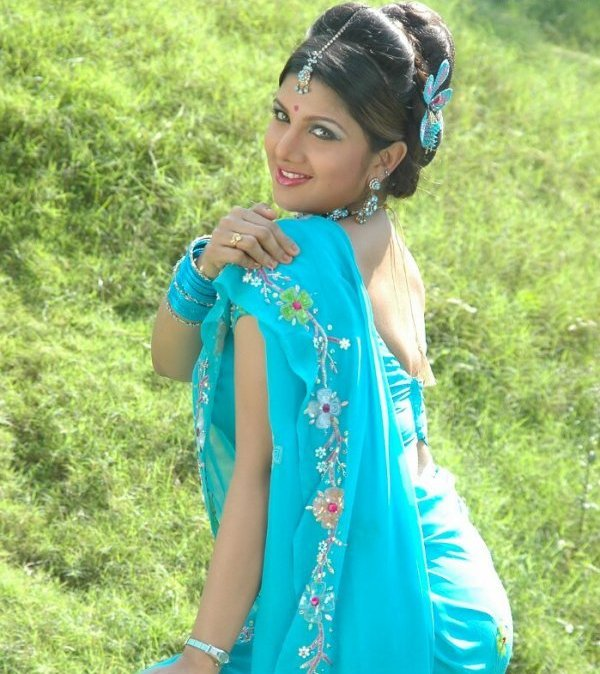 Rambha backless saree photos