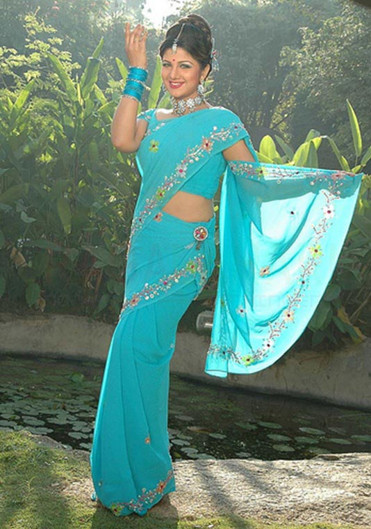 Rambha blue color saree photos