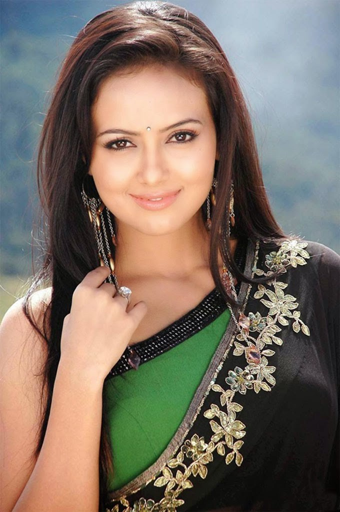 Sana khan face in saree pictures