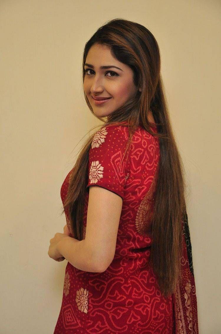 Sayyeshaa saigal red dress cute stills