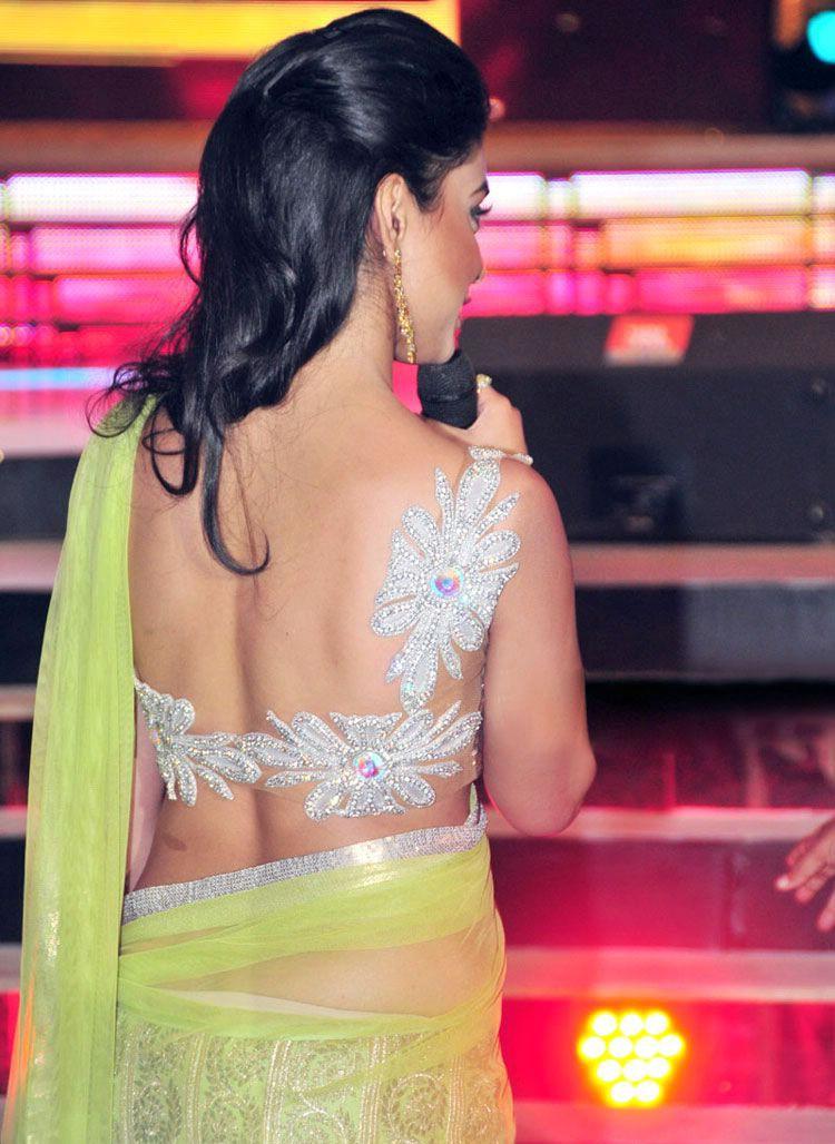 Shriya saran light green saree backless photos