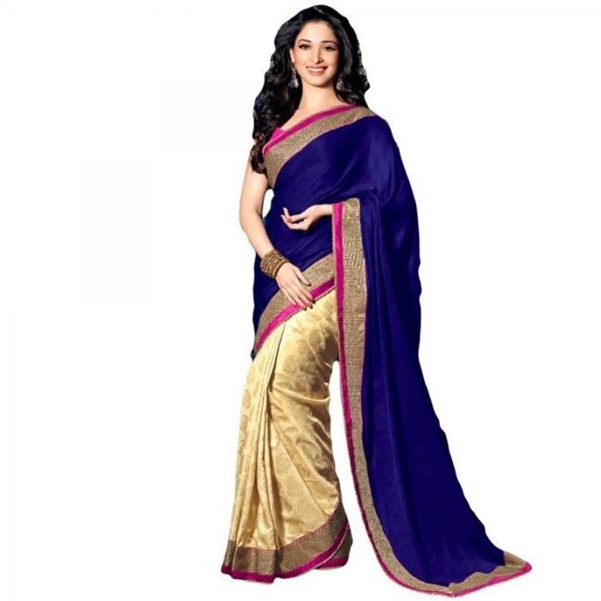 Tamanna bhatia blue saree pictures