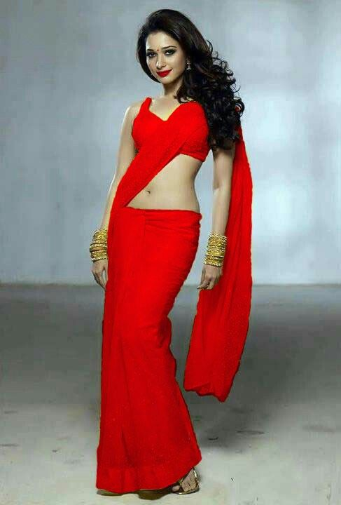 Tamanna bhatia red saree pictures