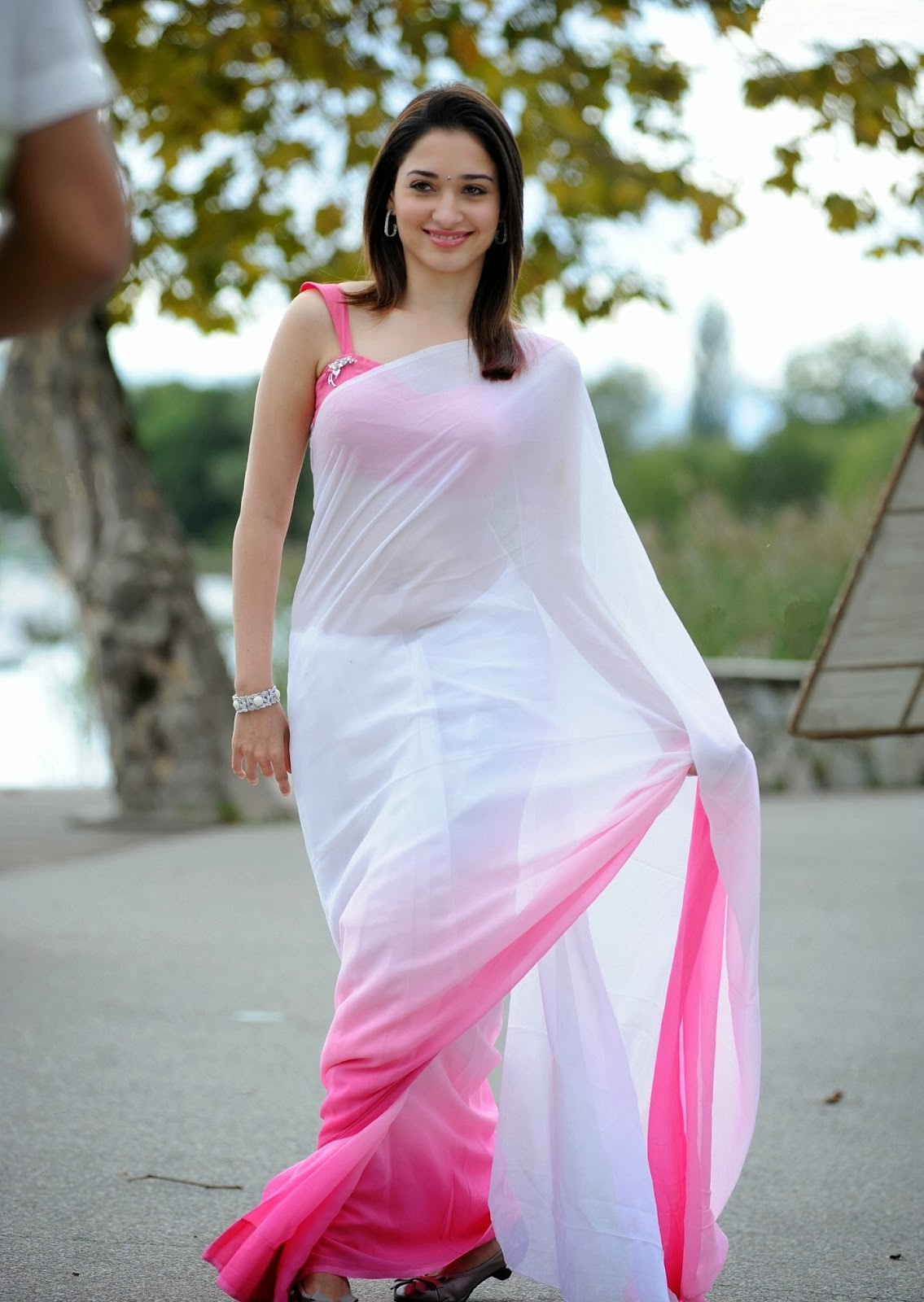 Tamanna bhatia white and red saree pictures