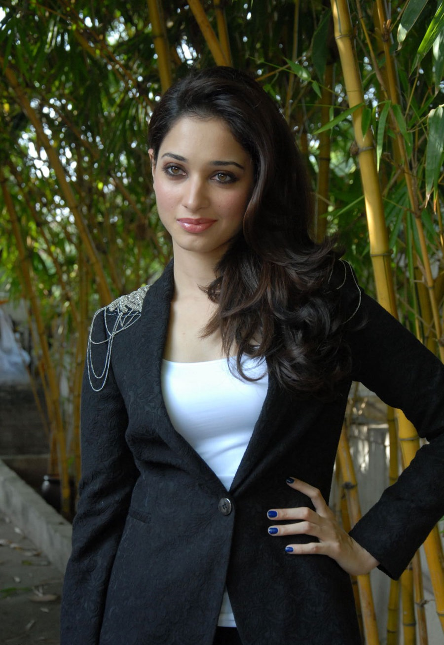 Tamanna black and white dress fashion photos