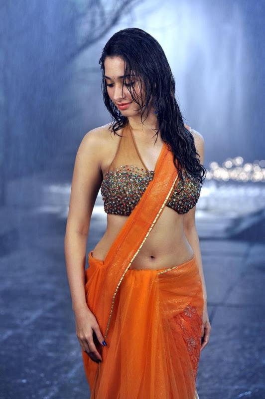 Tamanna hot orange saree pictures