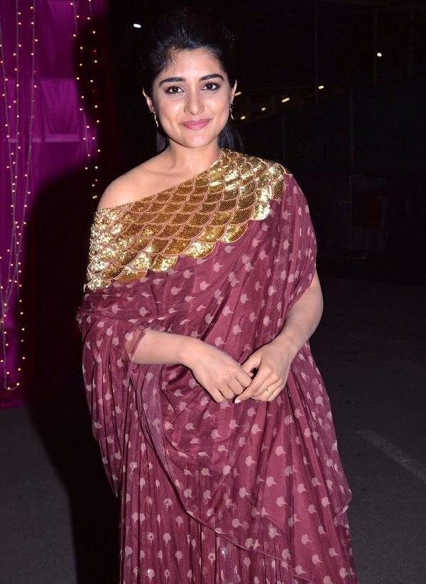 Actress nivetha thomas brown color dress photos