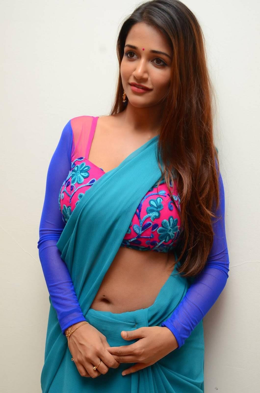 Anaika soti blue saree photoshoot pics