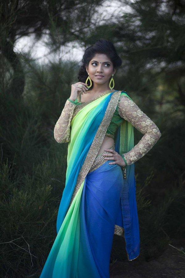 Anaswara kumar saree in public photos