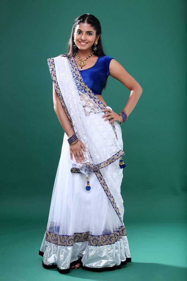 Anaswara kumar white saree photos