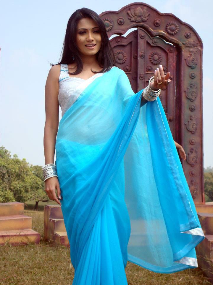 Deepika kamaiah blue color saree images