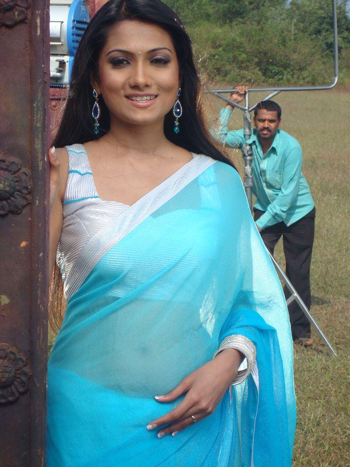 Deepika kamaiah blue saree shooting photos