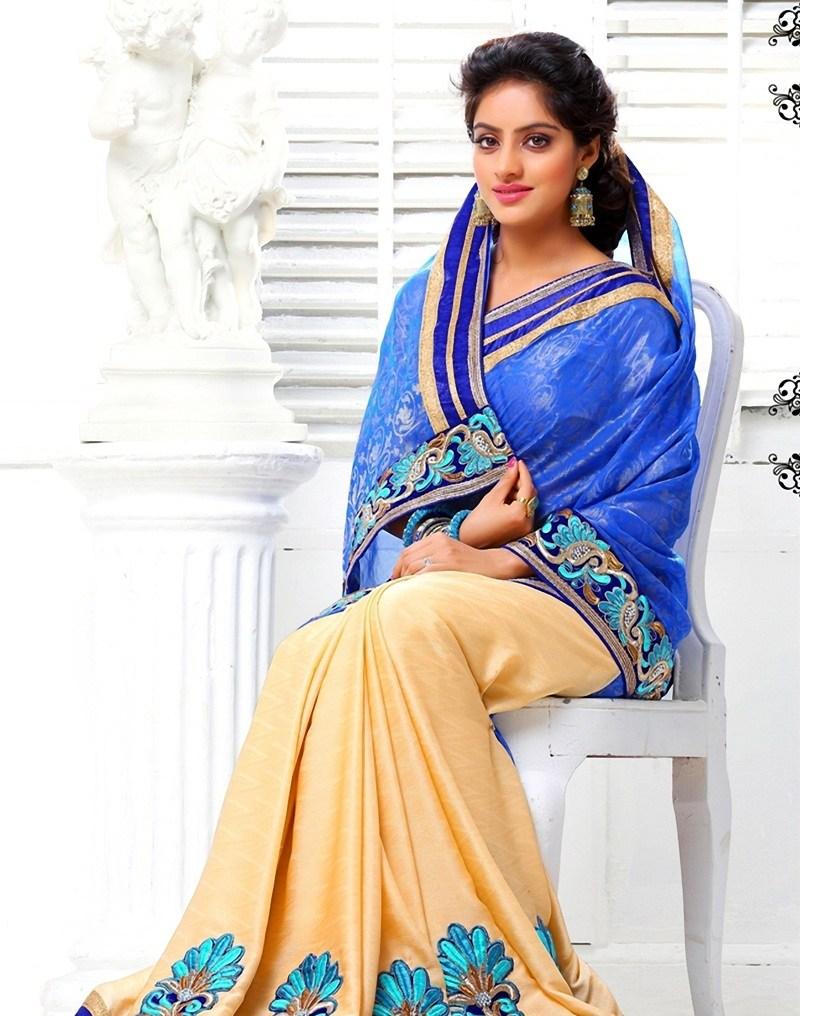 Deepika singh blue color saree pictures