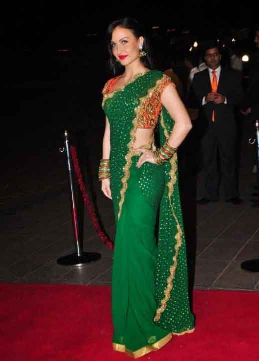 Elli avram green saree photos
