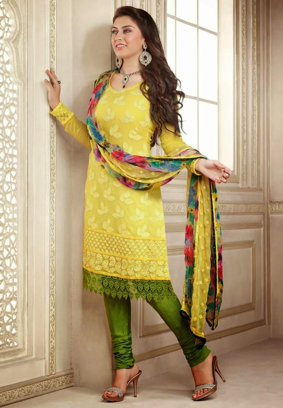 Hansika motwani light yellow dress salwar kameez photos