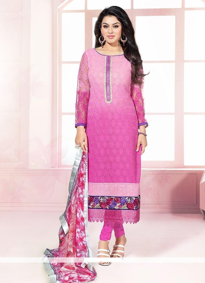 Hansika motwani pink net border churidar salwar kameez