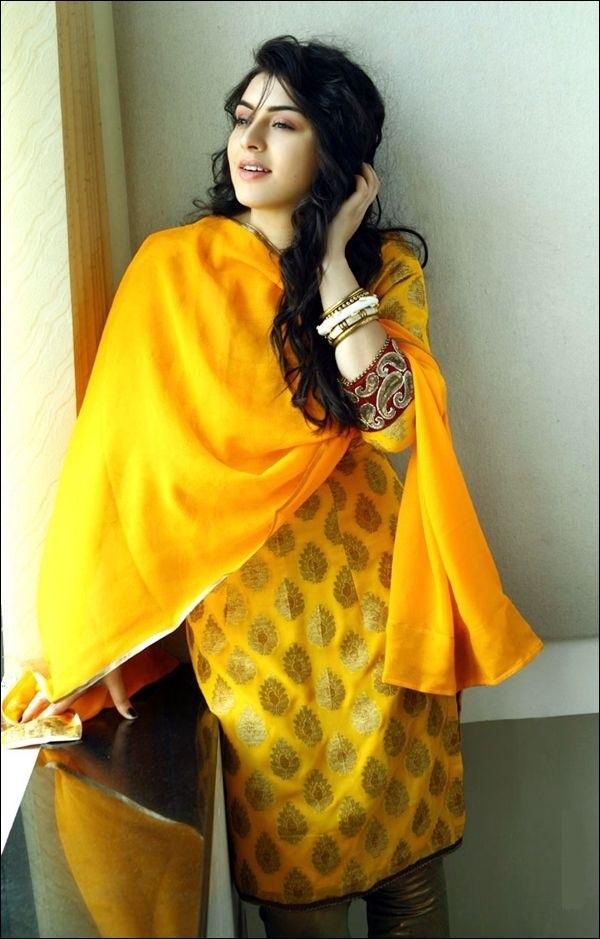 Hansika motwani yellow dress salwar kameez photo shoot