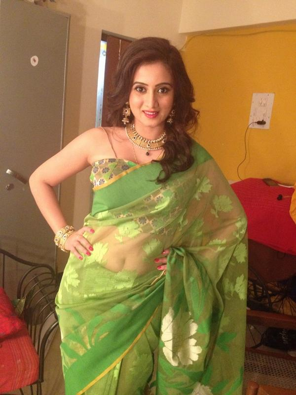 Harshika poonacha saree from house photos