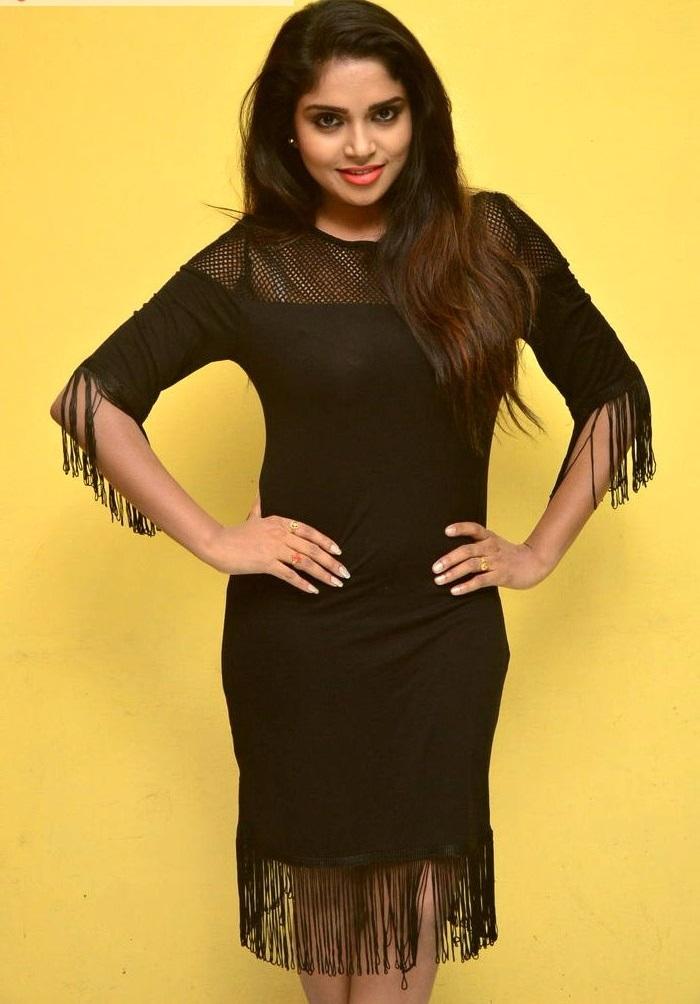 Karunya chowdary black dress cute fotos photos