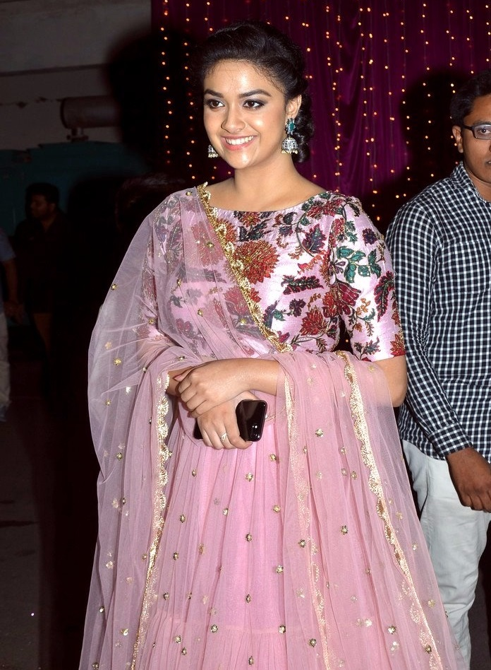 Keerthi suresh pink color dress heroine stills