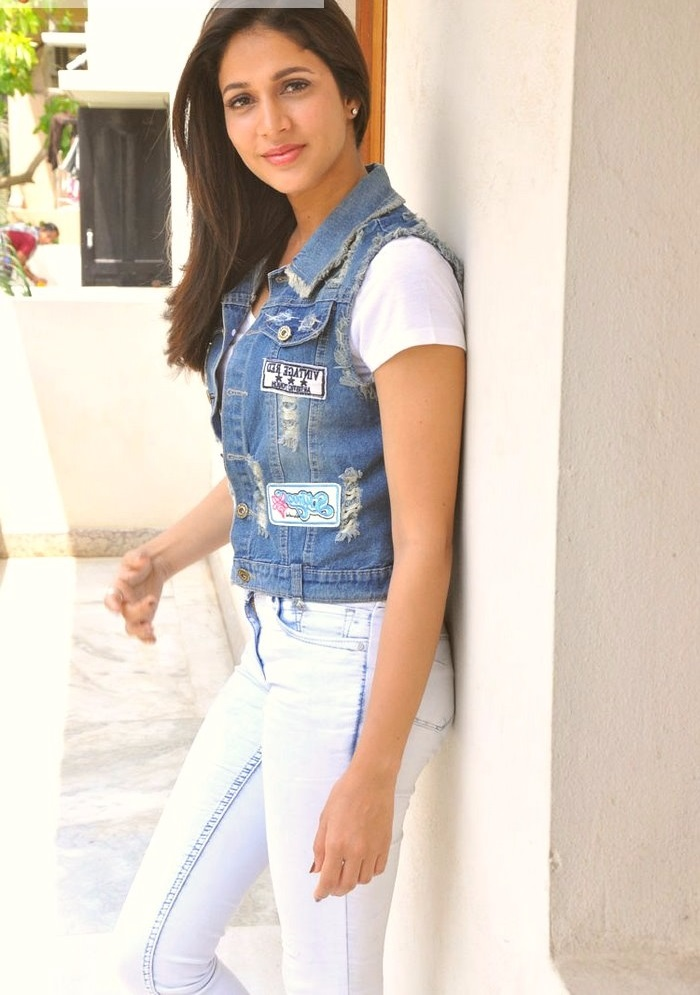 Lavanya tripathi blue and white dress unseen stills
