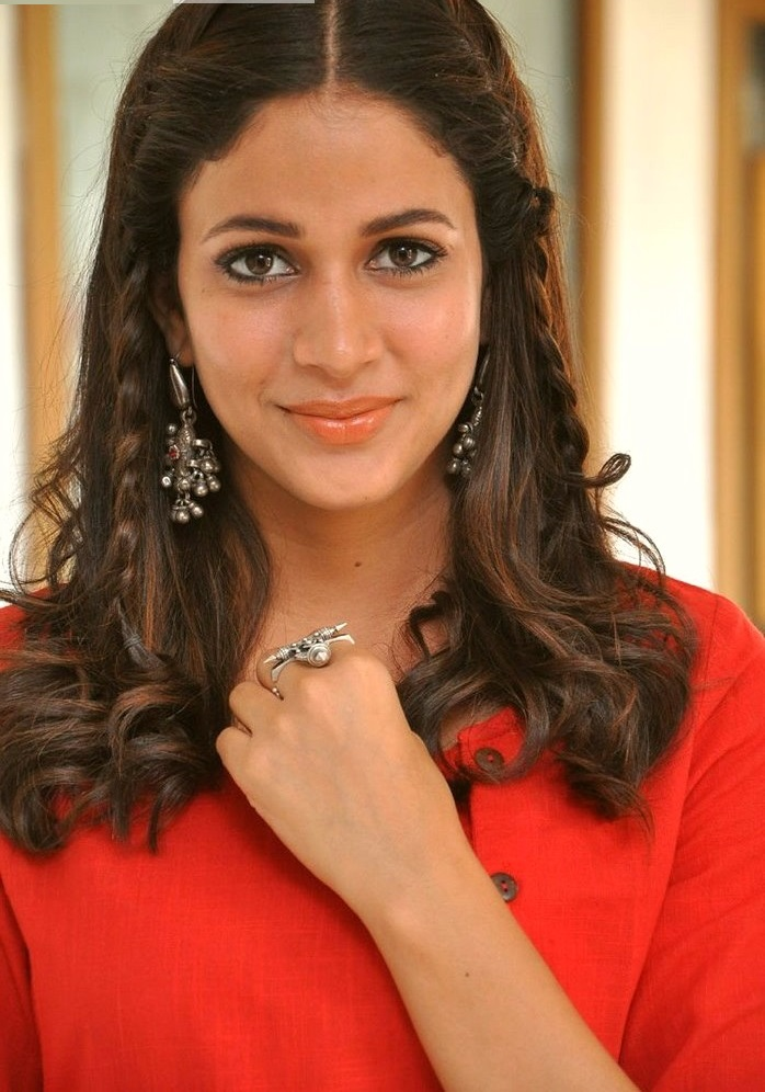 Lavanya tripathi red dress smile pose gallery