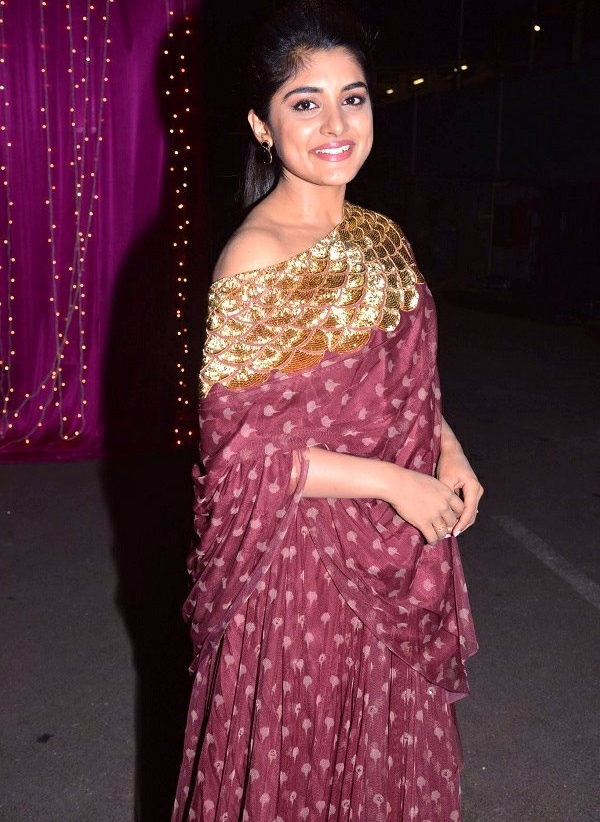Nivetha thomas actress brown color dress pictures