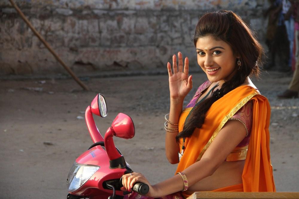 Oviya bike in saree photos