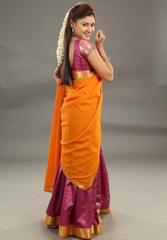 Oviya helen orange half saree pictures
