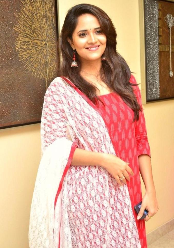 Anasuya bharadwaj red dress modeling photos