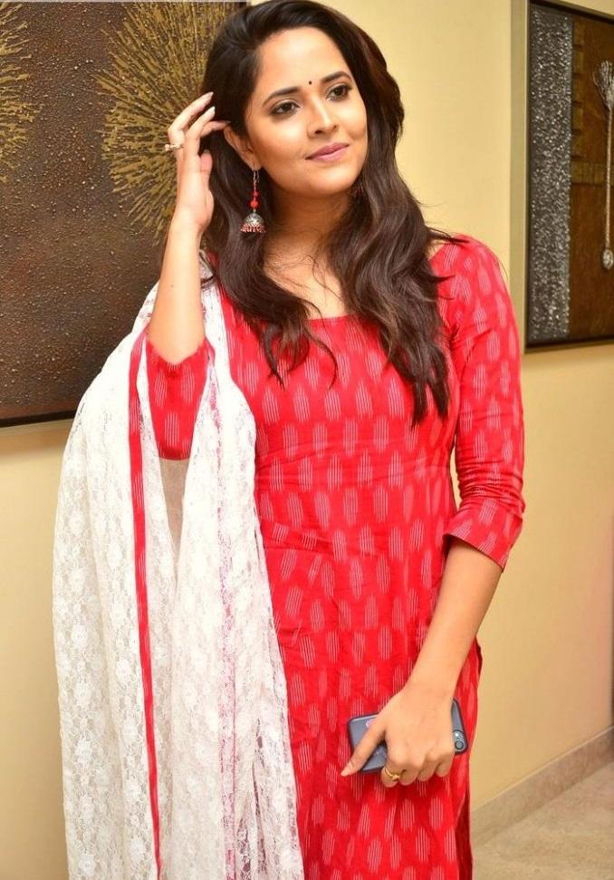 Anasuya bharadwaj red dress photoshoot wallpaper