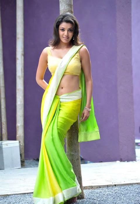 Kajal agarwal green with yellow saree cute photos