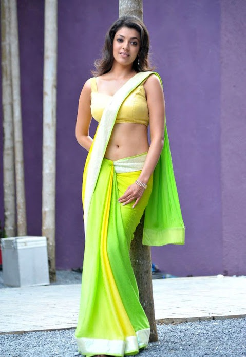 Kajal agarwal green with yellow saree figure wallpaper