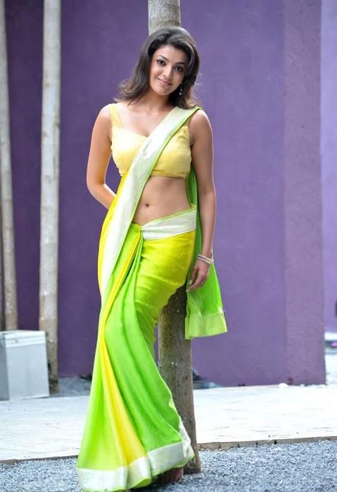 Kajal agarwal green with yellow saree glamour image