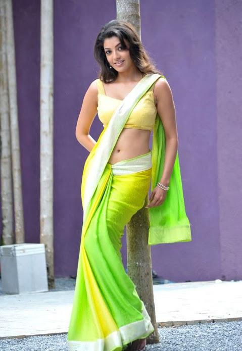Kajal agarwal green with yellow saree photoshoot stills
