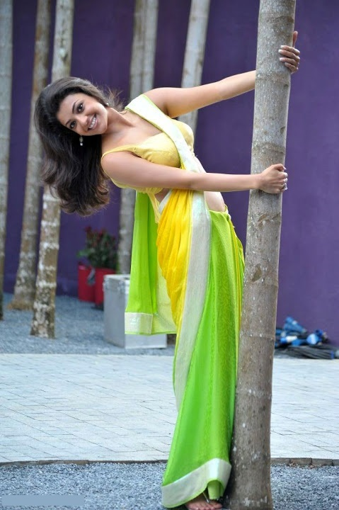 Kajal agarwal green with yellow saree unseen pics