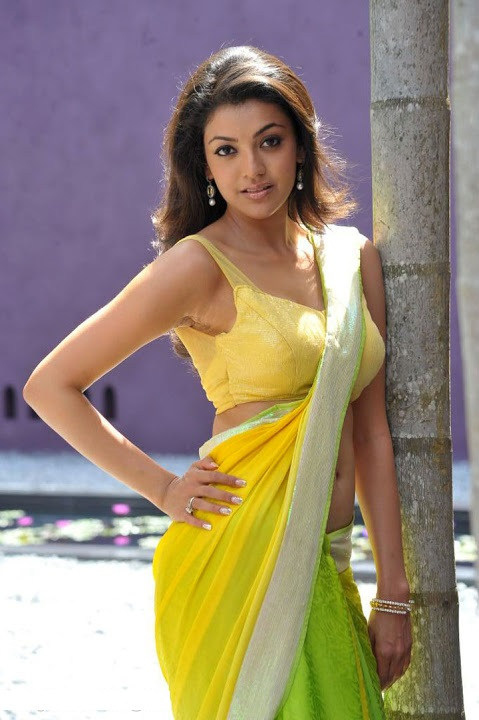 Kajal agarwal green with yellow saree wide fotos